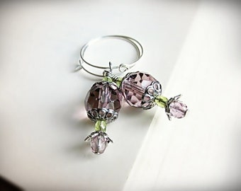 Lavender Purple Earrings, in Sparkly Czech Glass and Silver Hoops