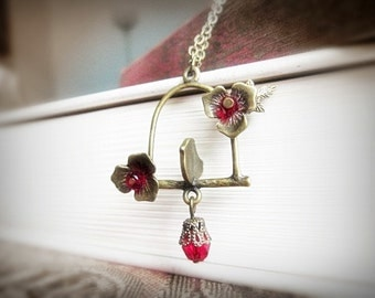 Bird Necklace, Antiqued Brass and Ruby Red Czech Glass, Lonely Lovebird