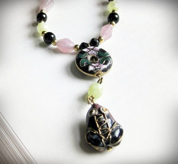Frog Necklace, Art Deco, in Green Pink  and Black, Cloisonne Enamel and Glass OOAK
