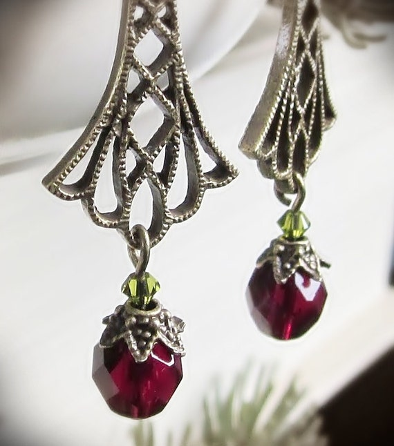 Christmas Earrings, Victorian Holiday, in Brass Filigree and Red and Olive Green Glass Crystal