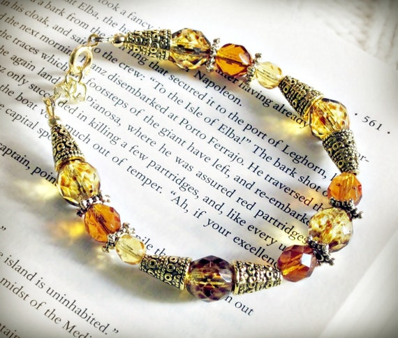 Bracelet, Saffron Yellow Czech Glass and Antiqued Gold, Bollywood Sunshine
