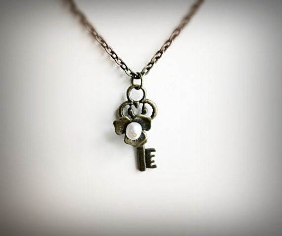 Skeleton Key Necklace, Romantic,  Antiqued Brass and Pearl, Sweet Secret