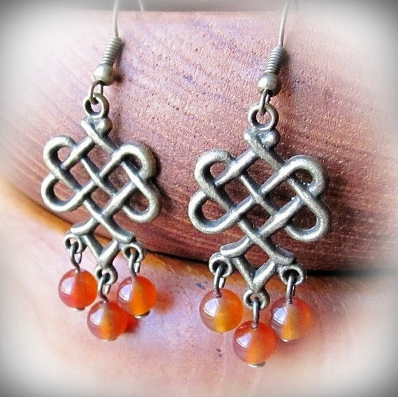 Orange Beaded Chandelier Earrings, Celtic Knot,  in Antiqued Brass and Red Agate Natural Stone