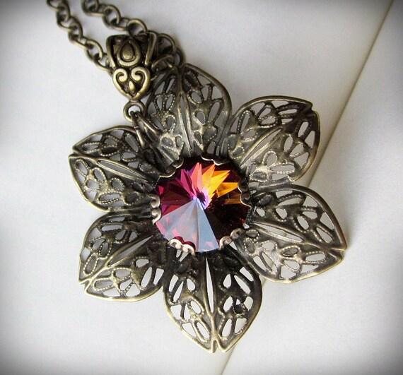 Swarovski Necklace, Flower Pendant in Antiqued Brass Filigree. Romantic.