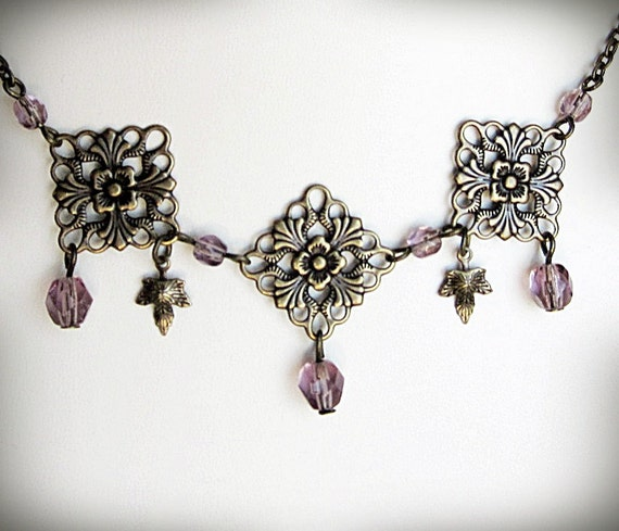 Filigree Necklace, in Antiqued Brass and Lavender Czech Glass, Beaded, Delicate