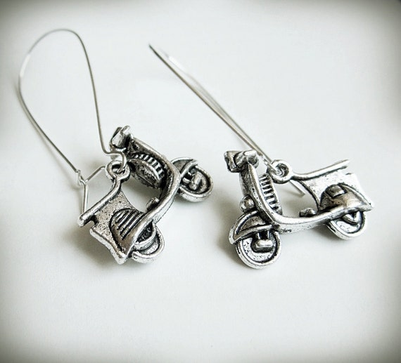Vespa Scooter Earrings, Long Dangle, Antiqued Silver