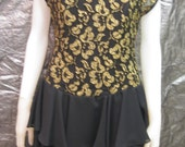 SALE Vintage Black & Gold Embroidered Lace Corsetted 80's Party Dress  M
