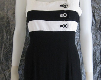 Vintage Black & White Stripe 80's Dress  M/L