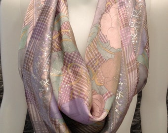 Vintage Silk Liz Claiborne Pastel Floral Print 70's Scarf