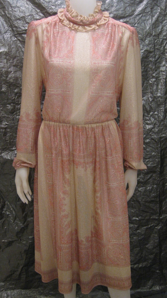 RESERVED SALE Vintage 70's Sheer Metallic Print Ruffle Neck Secretary Dress  XL