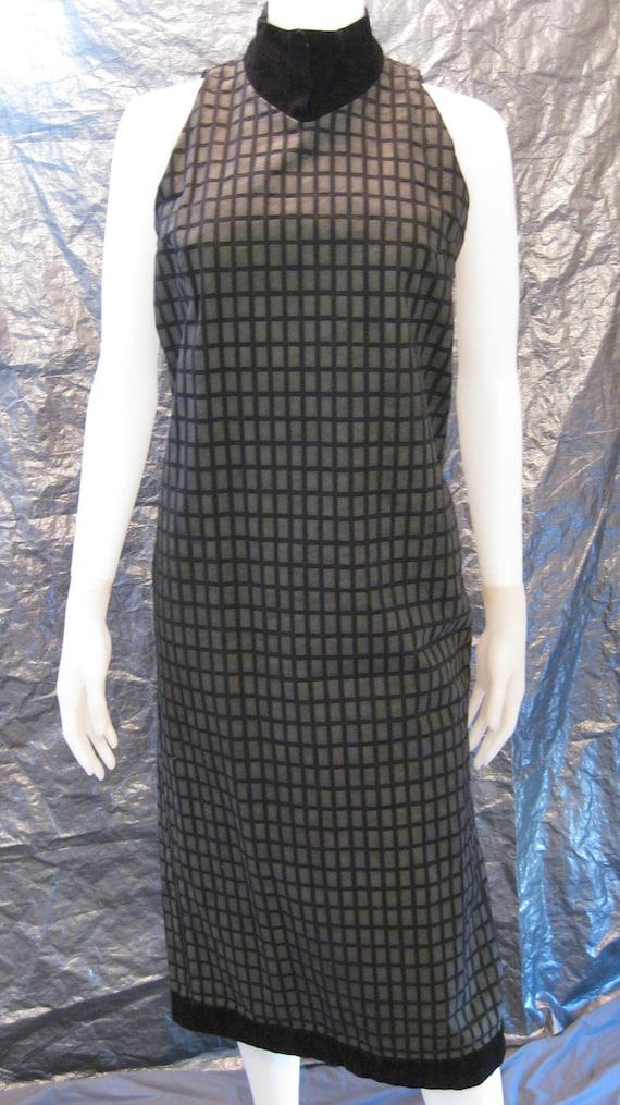 SALE Vintage Black w/ Gray Textured Rectangles Modern 80's Dress  S