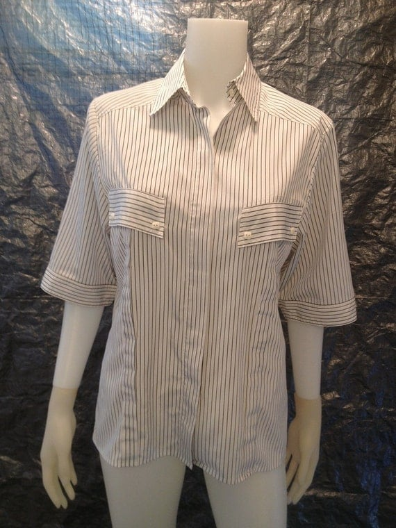 RESERVED SALE Vintage White Pinstripe Silky 80's Shirt  M/L
