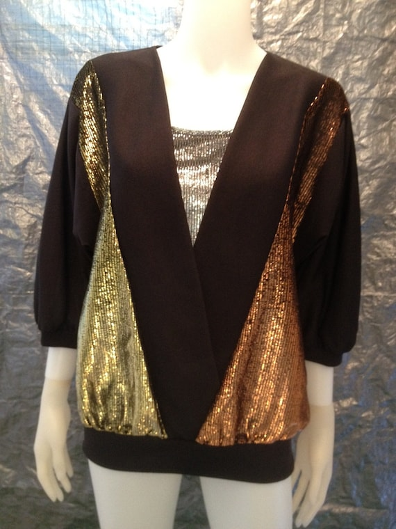 Vintage Black w/ Mega Metallic Contrast 70's Disco Top  L