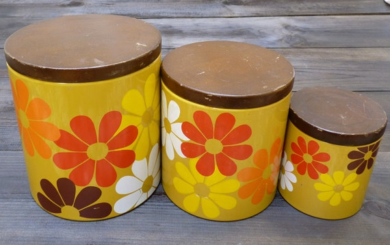 SALE 25% OFF - Vintage 1960s Ransburg Floral Tin Canisters - Set of 3