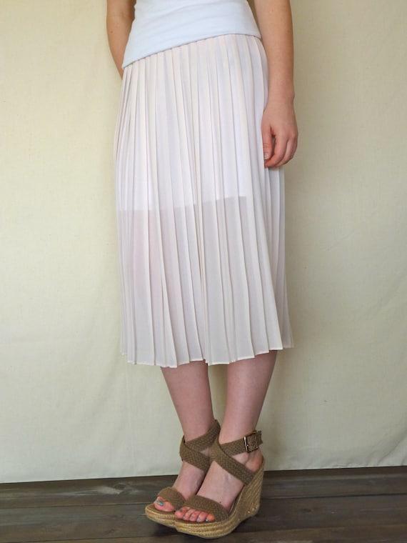 Vintage Sheer Pale Pink Pleated Midi Skirt