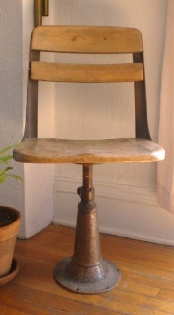 Vintage School Chair Mid-Century Industrial Wood Metal Reserved for Matt