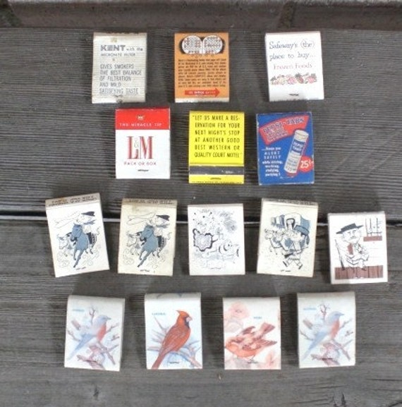 Vintage Advertising Matchbook Collection of 15 Birds Old West Cigarettes