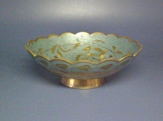 Vintage Brass Enameled Bowl Toucan