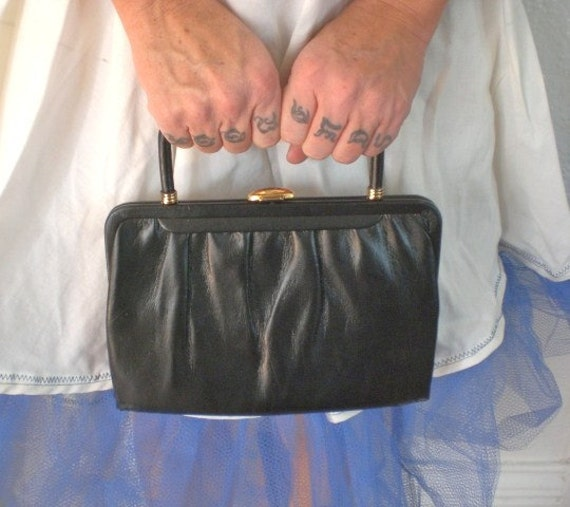 RESERVED Vintage Mardone Purse Black Leather 1940's FINAL MARKDOWN