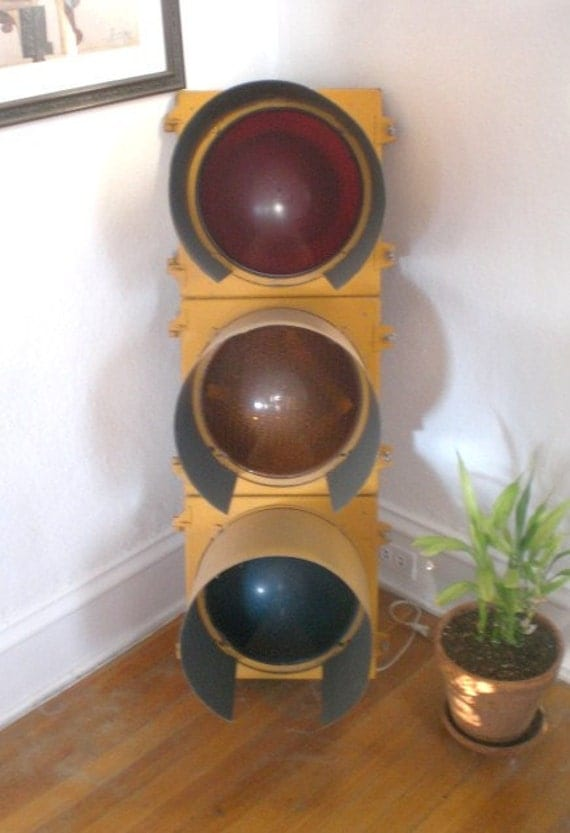 Vintage Traffic Light Signal 1950's Metal Red Yellow Green Arrow Industrial Working Electric Reserved for Kaia