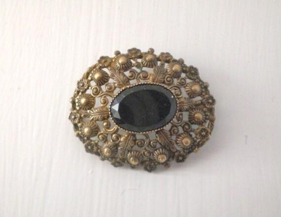 Vintage Brass Filigree Brooch Black Glass Bead
