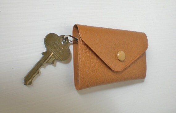 Vintage Plastic Key Wallet Case Brown
