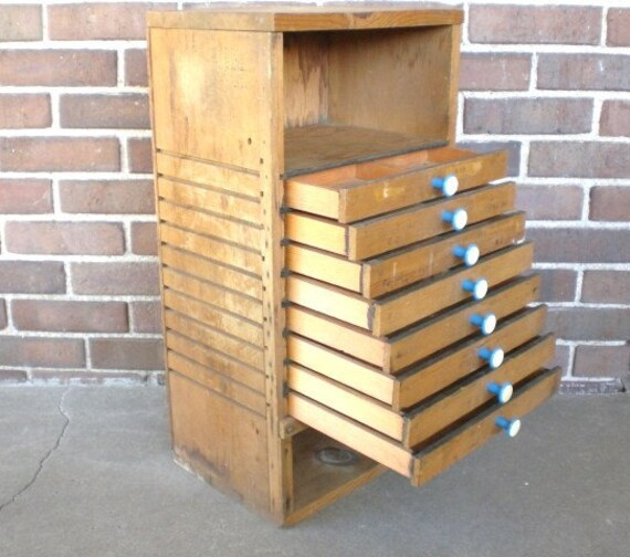 Vintage 8 Drawer Cabinet Flat File Photography Wood