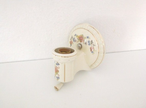 Vintage White Porcelain Wall Sconces: Vintage Ceramic Sconce Light Fixture Electric White Floral
