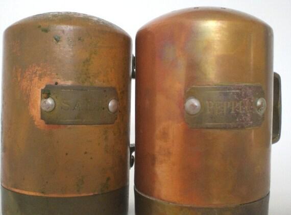 Vintage Copper Brass Salt and Pepper Shakers Set