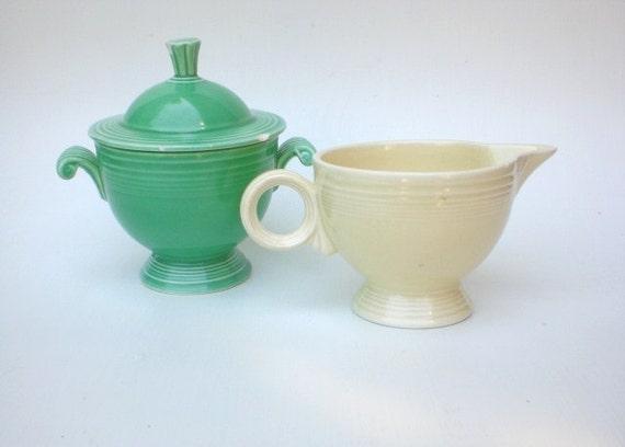 Vintage Fiestaware Creamer Covered Sugar Bowl Set Green Ivory