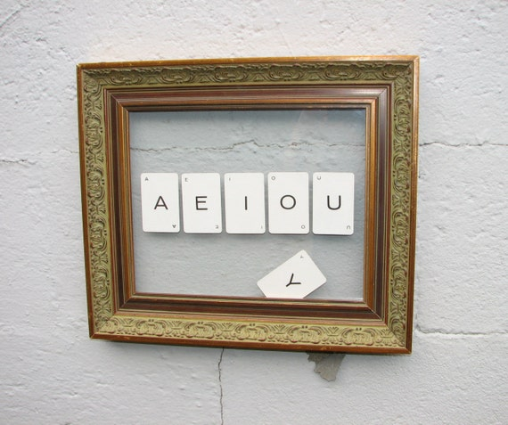 A E I O U and sometimes Y -- mixed media assemblage -- upscale upcycling for your space