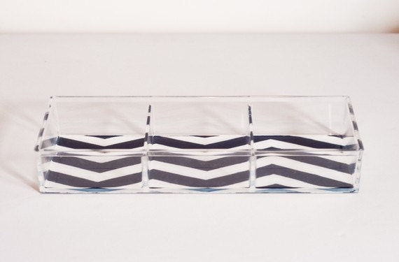 Choose Your Color - Chevron Stripe Lucite Tray