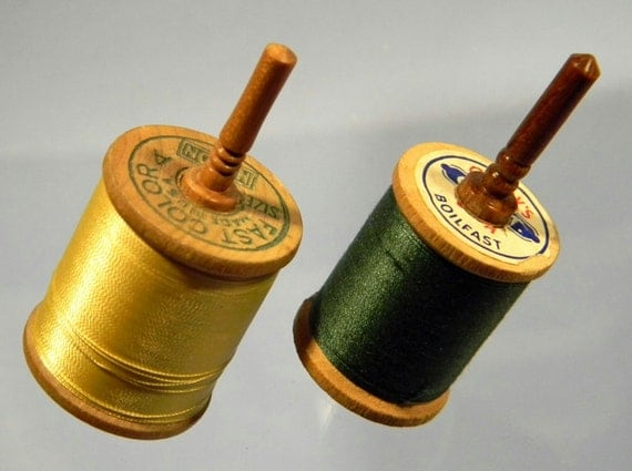 2 Toy Spinning Tops made from Vintage Thread Spools and Cherry wood - Handmade Spin Top by Joshua Andra