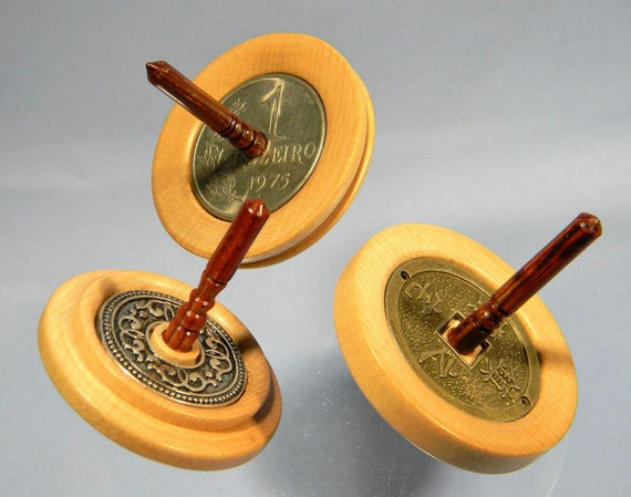 3 Toy Spinning Tops Set - w/ Coins and Decorative Metal Button - Handmade Spin Tops by Joshua Andra