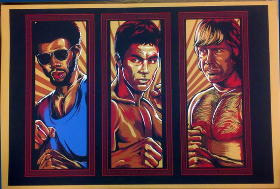 Brent Cheshire Kung Fu All Stars screen print 2 x 3 feet. 6 colors. signed and numbered. 100 made