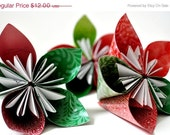 ON SALE Recycled Paper Flower Christmas Ornaments, Set of 3
