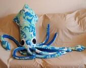 Anna Marie the Oceanic Turquoise Giant Fleece Squid - Stuffed Plush Animal