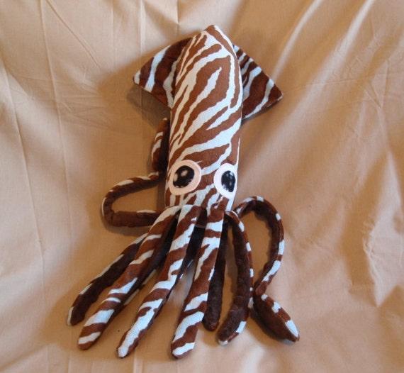 Zilla the Blue and Brown Zebra Striped Squid