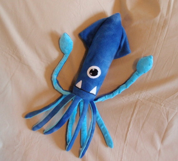 Made to Order Gorgon the Blue Fleece Cyclops Squid Monster Stuffed Animal Plush