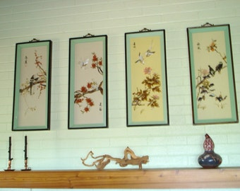 Vintage Chinese Shadow Box Pictures of the Four Seasons Jade, Mother of Pearl and More