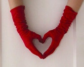 Vintage Red Gloves, Lady Gay Sweetheart Gloves with FREE shipping