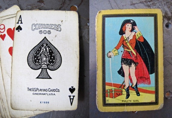 Art Deco Pirate Girl Playing Cards