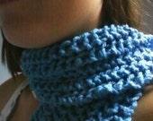 Long Blue Knit Scarf