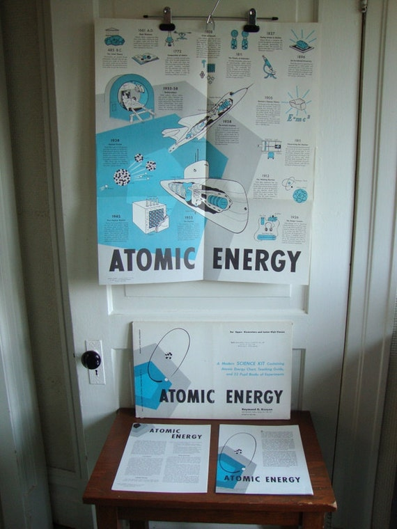 Reserved Vintage 1959 Atomic Energy Poster Educational Print Modern Home Decor Science Class Kit Complete