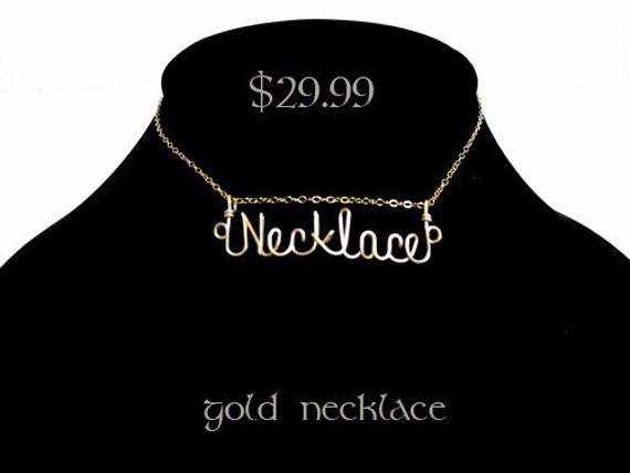 Personalized Custom Script 14 Karat Gold Filled Wire Name Plate Necklace