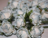 Blue  Rose Buds - Set of 12 paper roses for bouquets, scrapbooking, cards