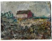 8 1/2 by 11 in. Oil paint on Gesso Primed Paper / Modern Landscape Impressionist (not framed)