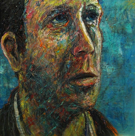 SOLD - Oil Paint on  Canvas of 48 by 48 by 1.5 in./ Oil Painting Art Large Big Paintings Fine Raw Male Realism Folk Pop singed Impressionist