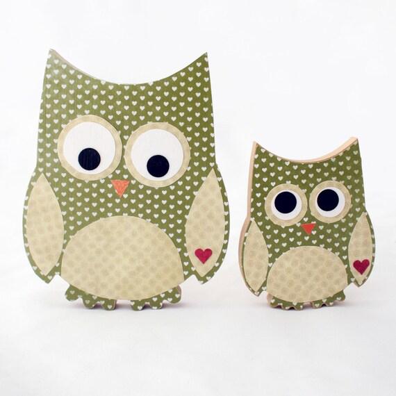 Custom order for Tarnia - Mum & Baby cute wooden owls