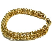 Gold Chainmaille Charm Bracelet - Yellow Gold Jewelry - Chunky Jewellery - Artisan - Fashion